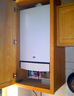 New gas heating boiler installed